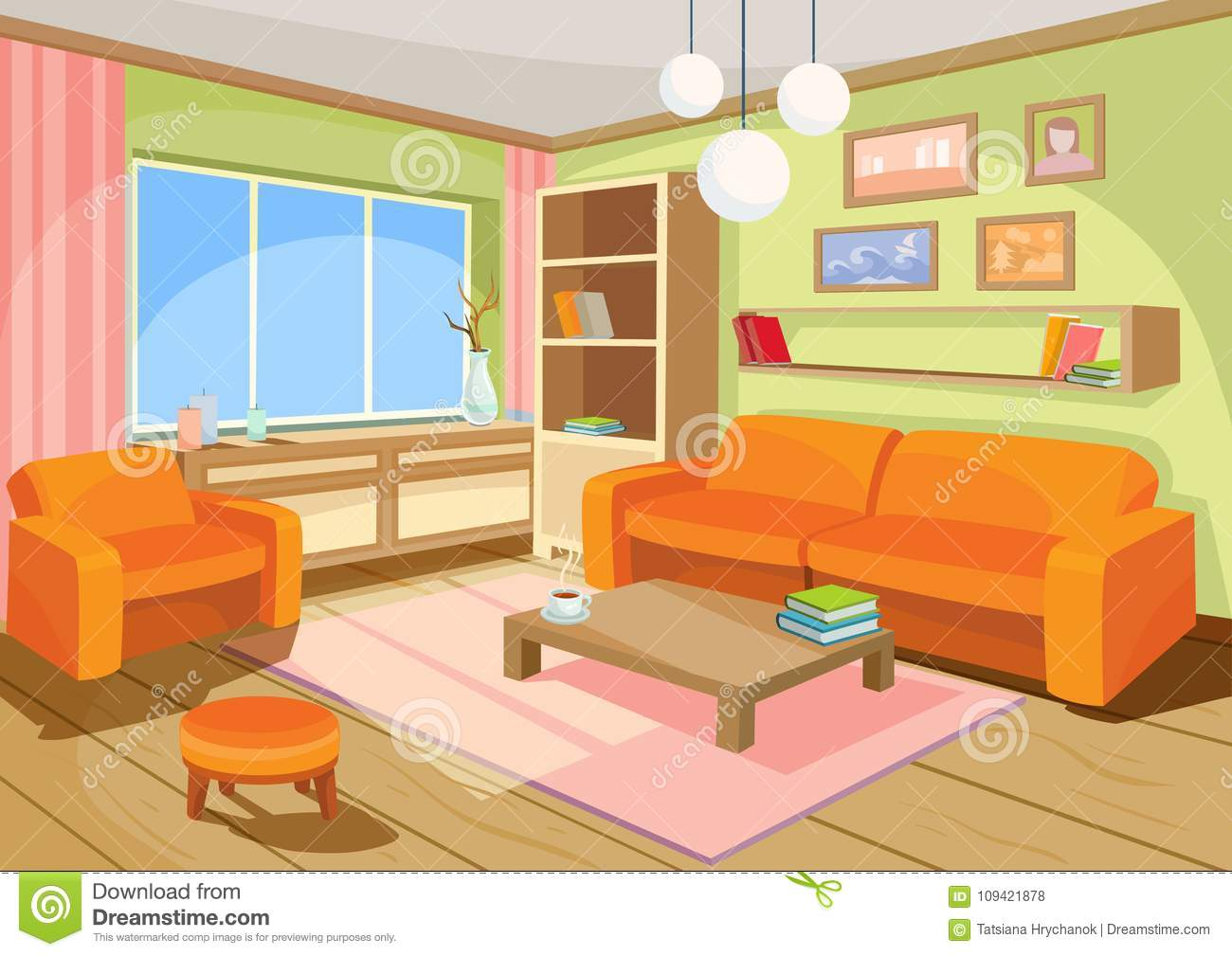 Wohnzimmer Cartoon Illustration Of A Cozy Cartoon Interior Of A Home Room A