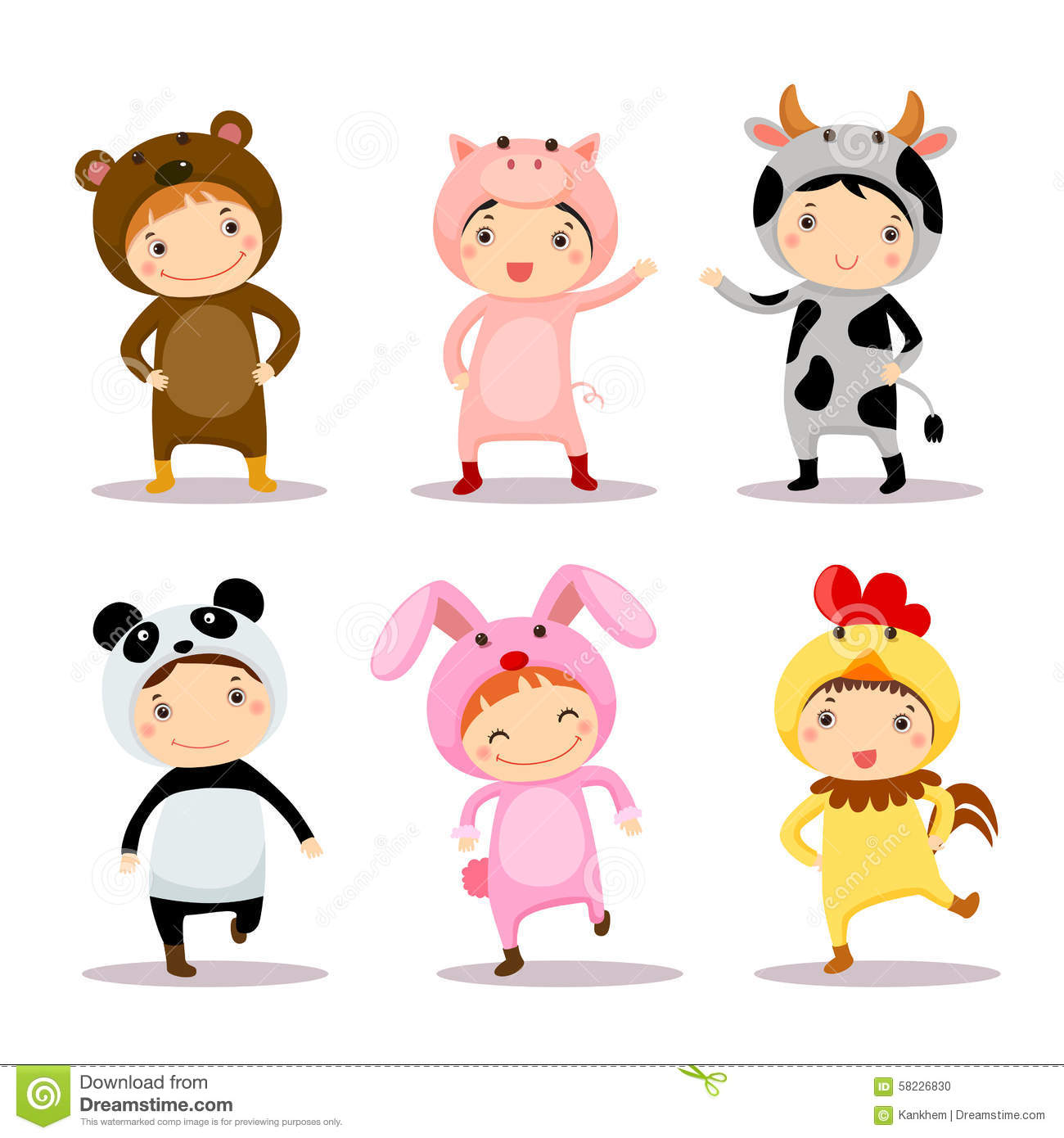 Fall Wallpaper Border Illustration Of Cute Kids Wearing Animal Costumes Stock