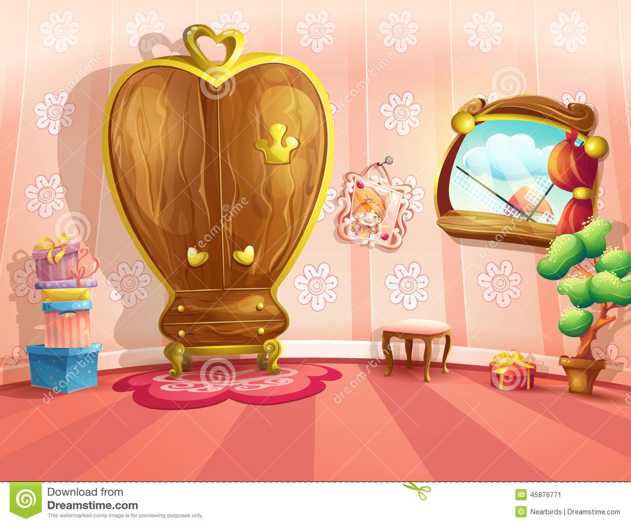 Boy And Girl In Room Illustration Of Princess Bedrooms In Cartoon Style Stock