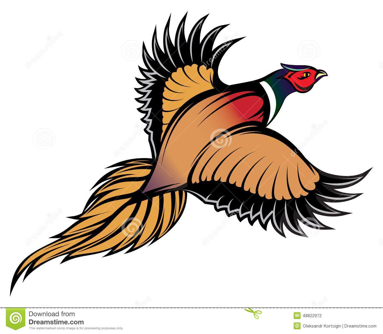 Bettdecken Clip Illustration Of A Stylish Multi Colored Flying Pheasant