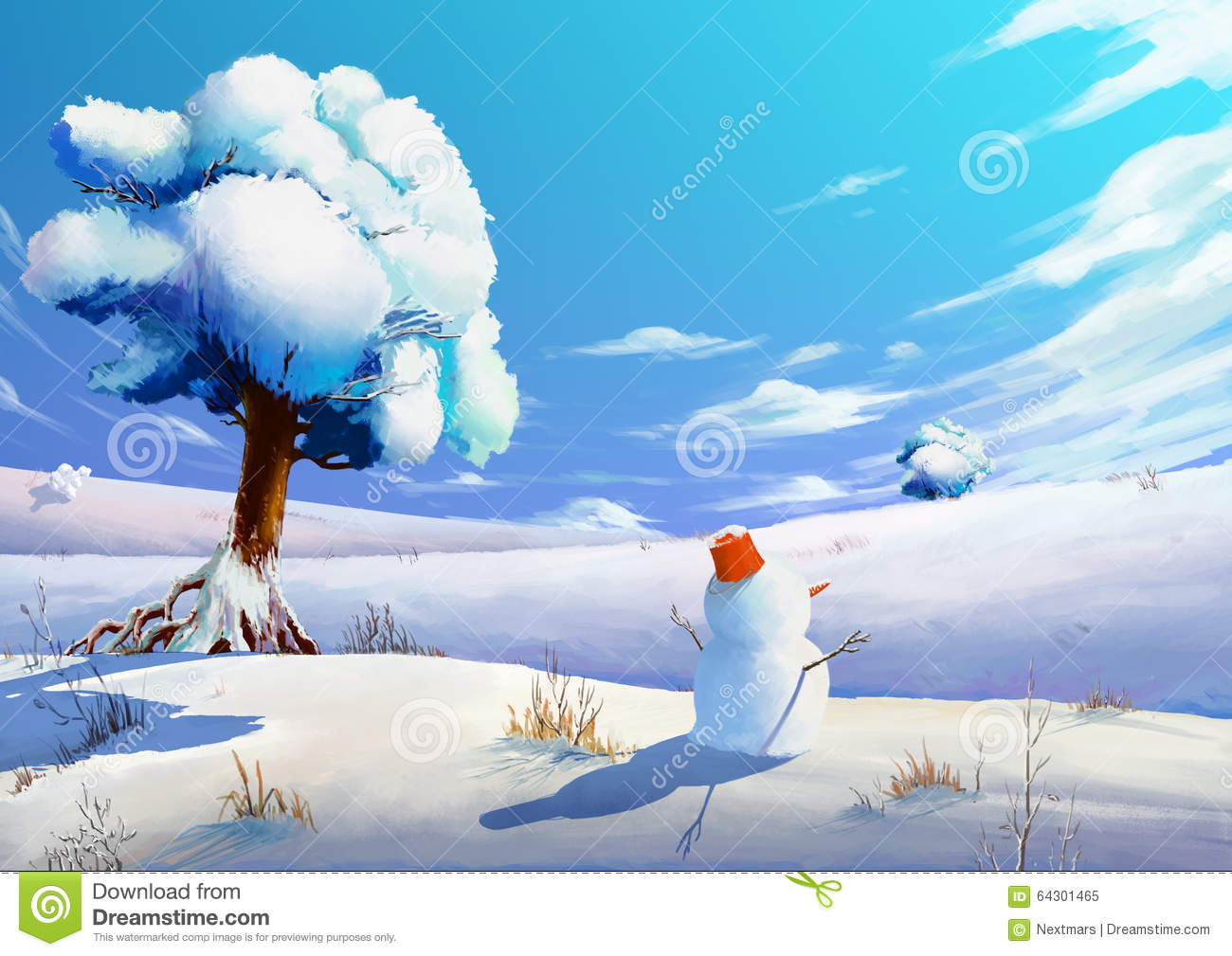 3d Stone Style Wallpaper Illustration The Winter Snow Field With Snowman Stock