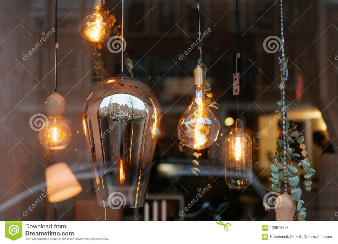 Glass Edison Lamp Incandescent Lamps In Room Behind The Glass Stock Photo