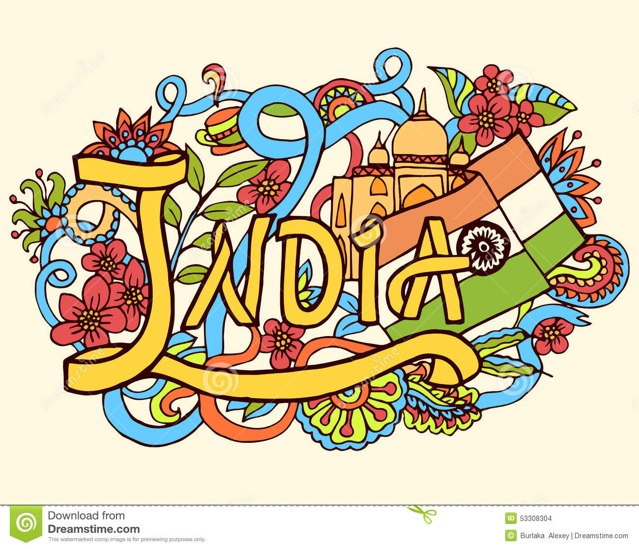 India Hand Lettering And Doodles Elements Background Auto Garmin Gt21 Th Transducer Wire Diagram