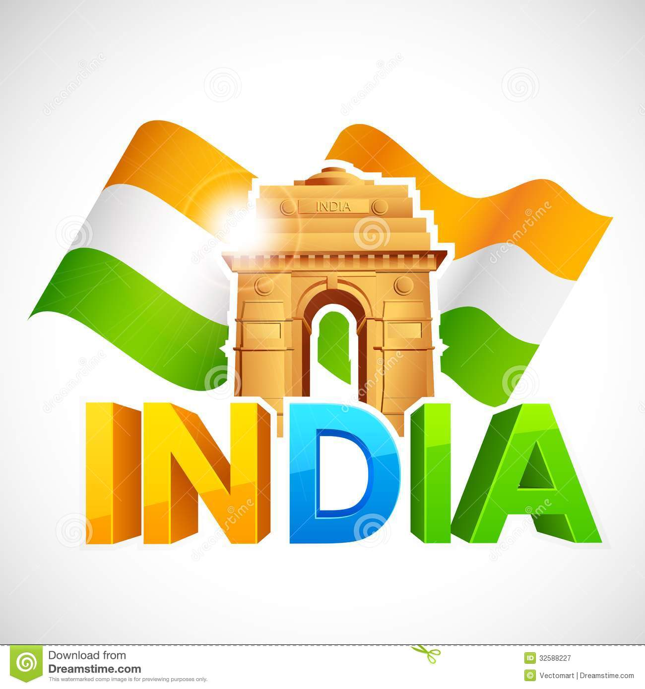 Tourism Blog Template India Gate With Tricolor Flag Stock Vector Illustration