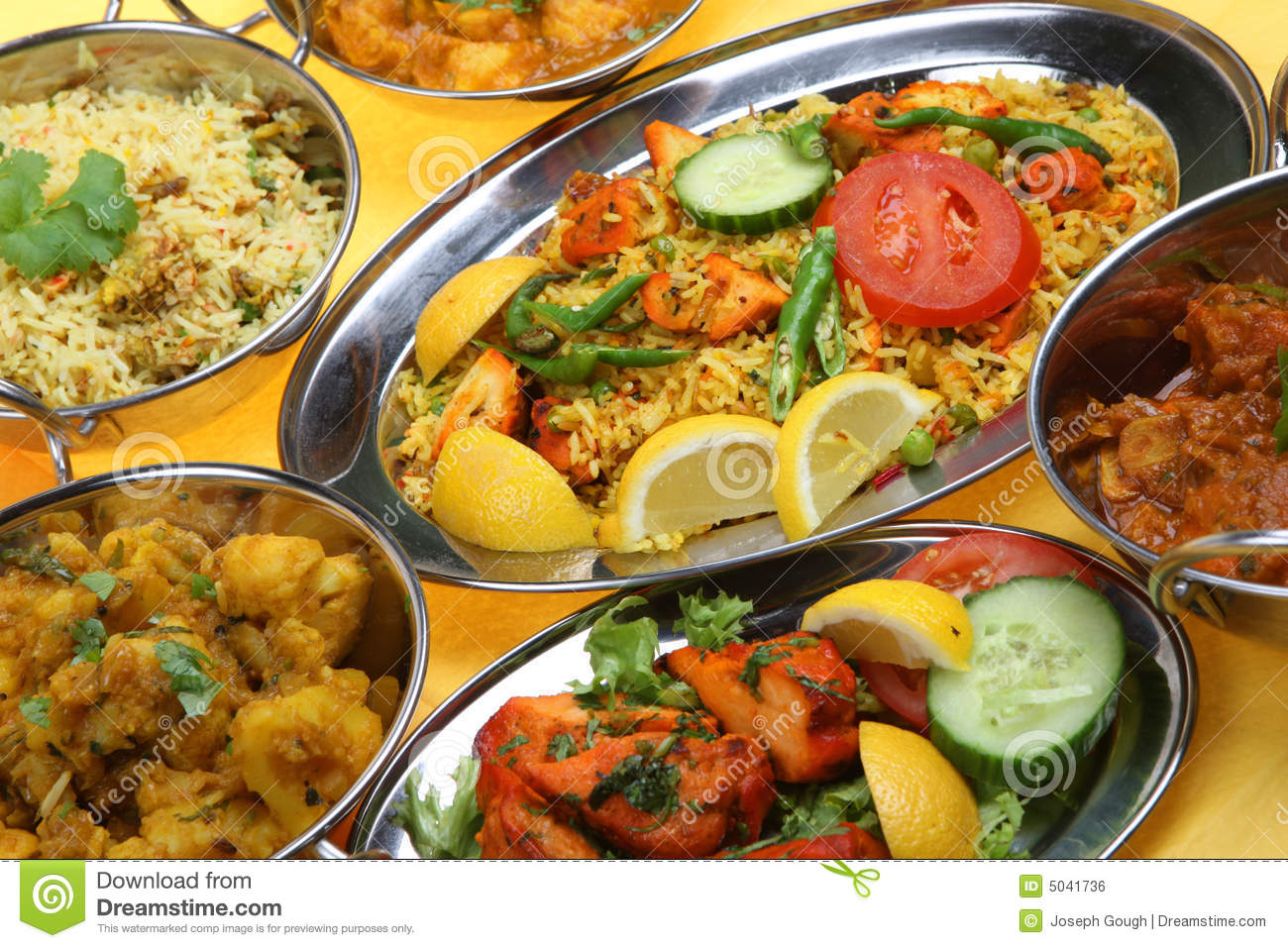 Hot Cuisine Indian Curry Dishes Stock Photo Image Of Stainless