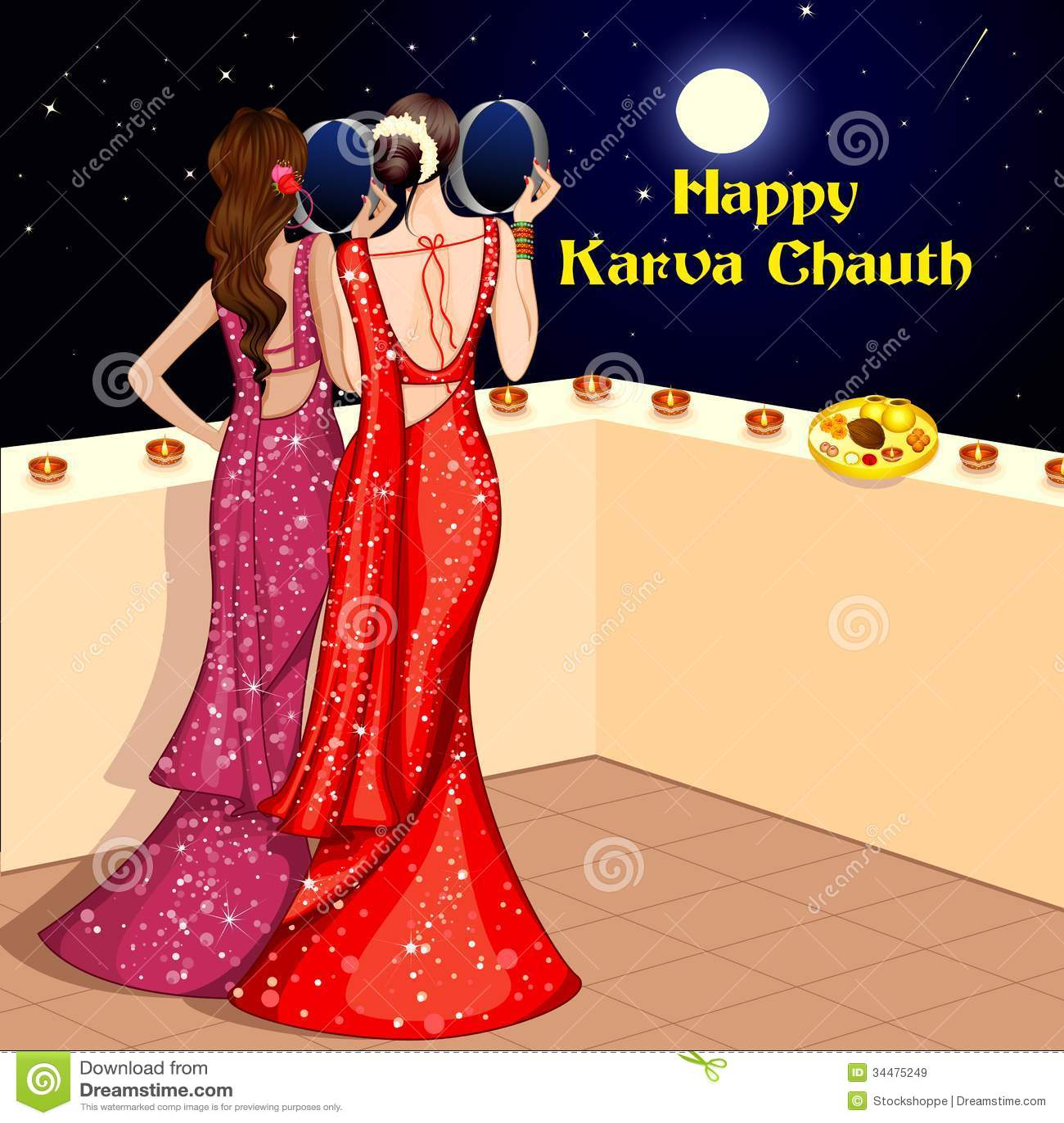 Diya Wallpaper Hd Indian Lady Celebrating Karwa Chauth Royalty Free Stock