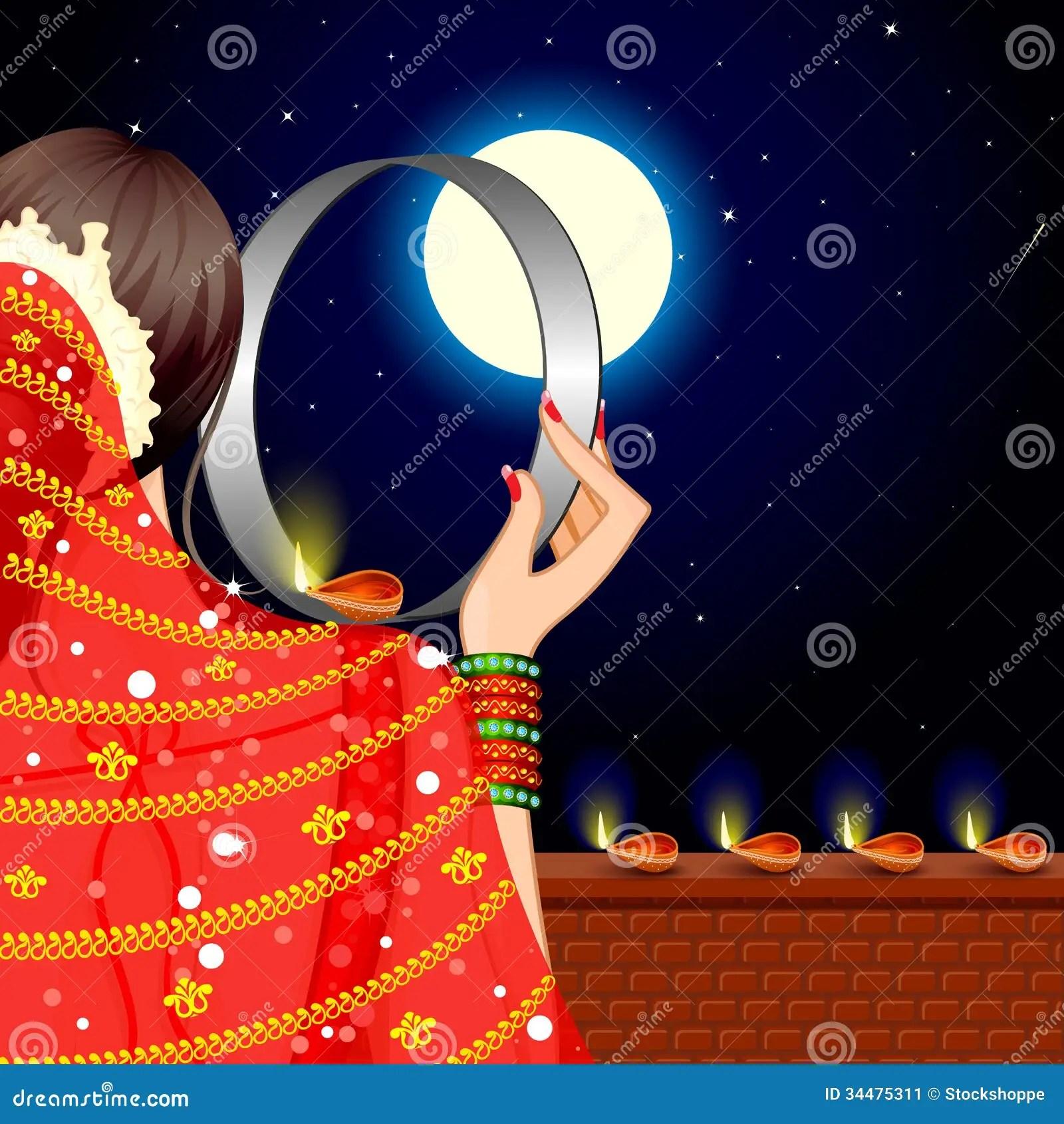Ravan 3d Wallpaper Indian Lady Celebrating Karwa Chauth Stock Image Image