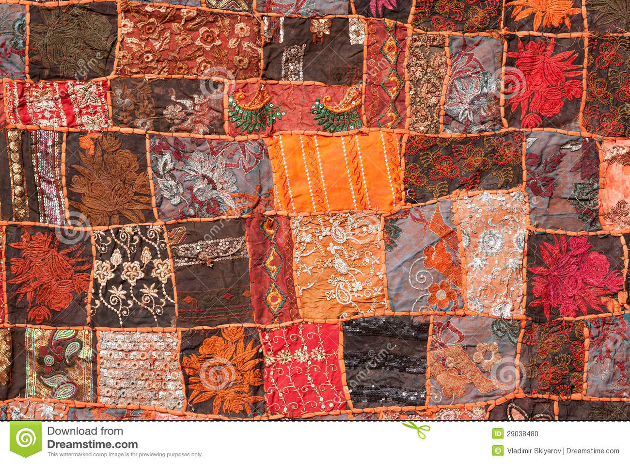 Photo Patchwork Indian Patchwork Carpet Stock Photo - Image: 29038480