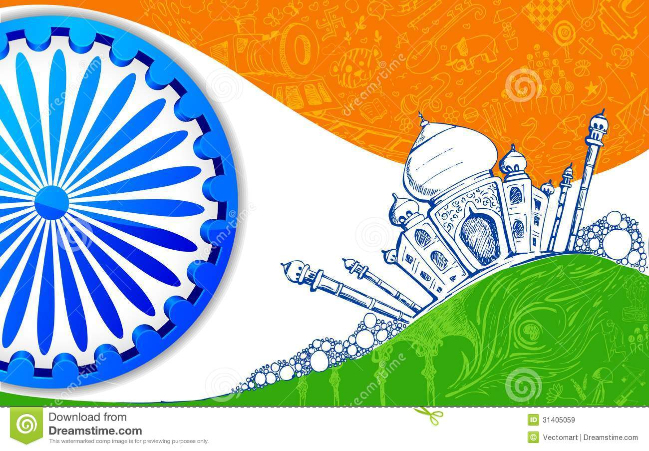 Ashok Chakra 3d Wallpaper Indian Tricolor Background Royalty Free Stock Images