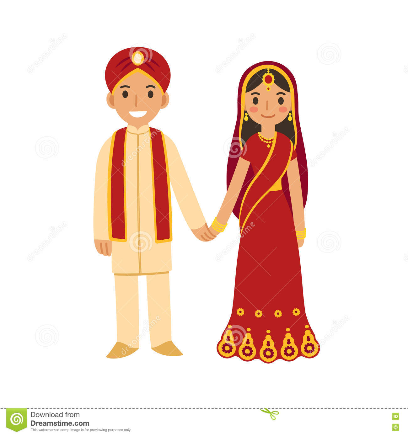 Cute Punjabi Married Couple Wallpaper Indian Wedding Couple Stock Vector Illustration Of