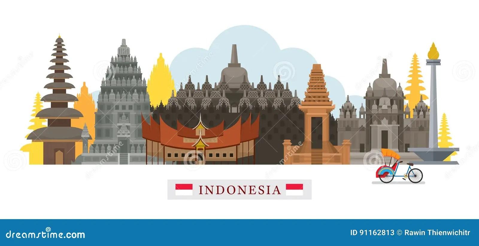 Cute L Wallpaper Indonesia Architecture Landmarks Skyline Stock Vector