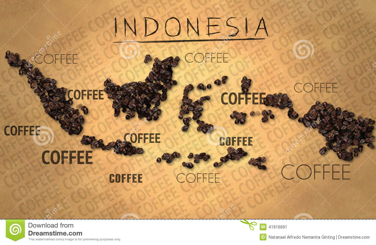 Coffee Art Jakarta Indonesia Map Coffee Bean Producer On Old Paper Stock