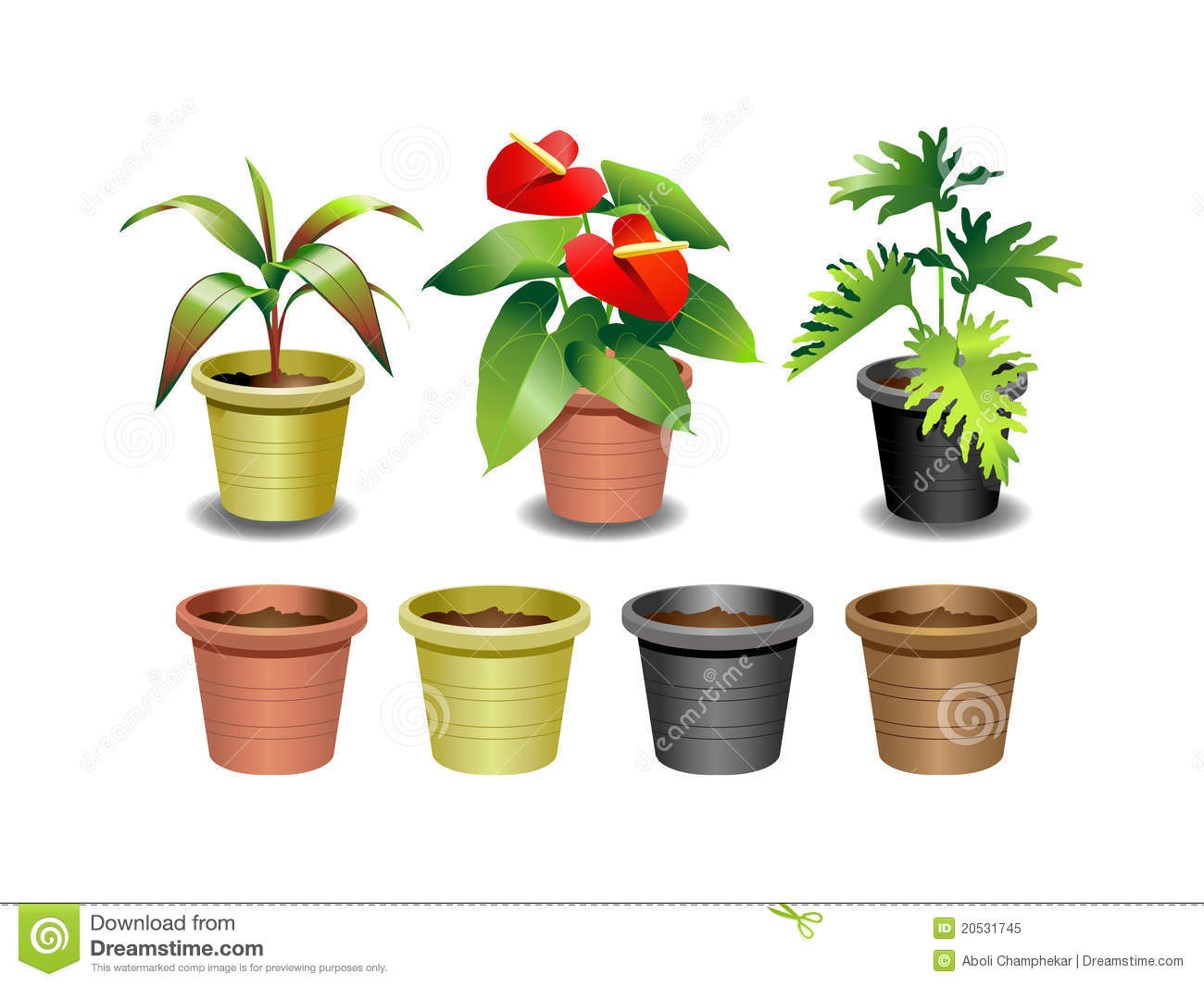 Indoor Plants For The Office Indoor Office Plants Set 1 Stock Vector Illustration Of