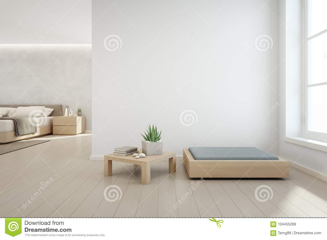 Bedroom White Background Indoor Plant On Wooden Coffee Table And Modern Furniture