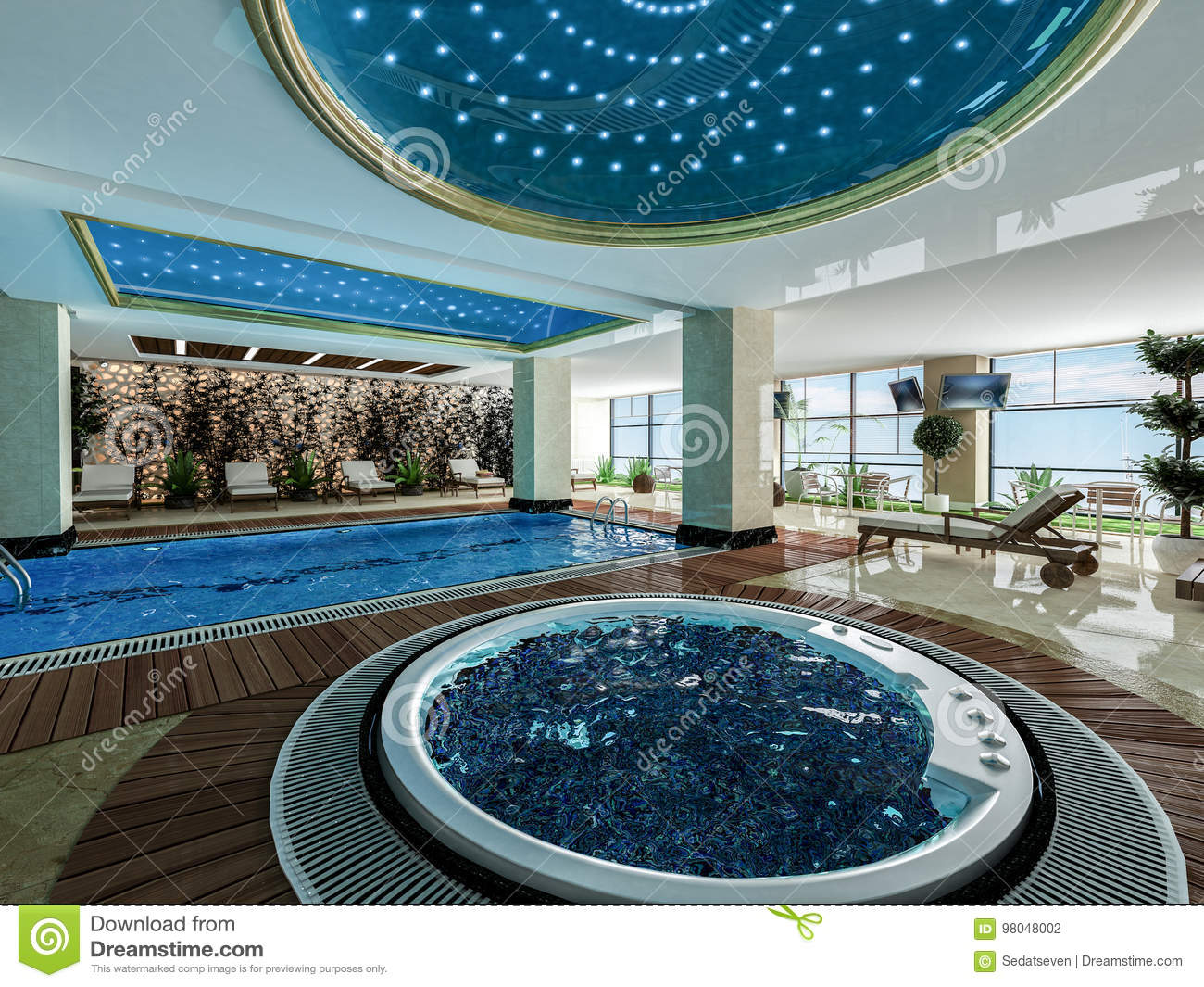Jacuzzi Pool Design Indoor Swimming Pool And Jacuzzi Design Idea Stock Illustration