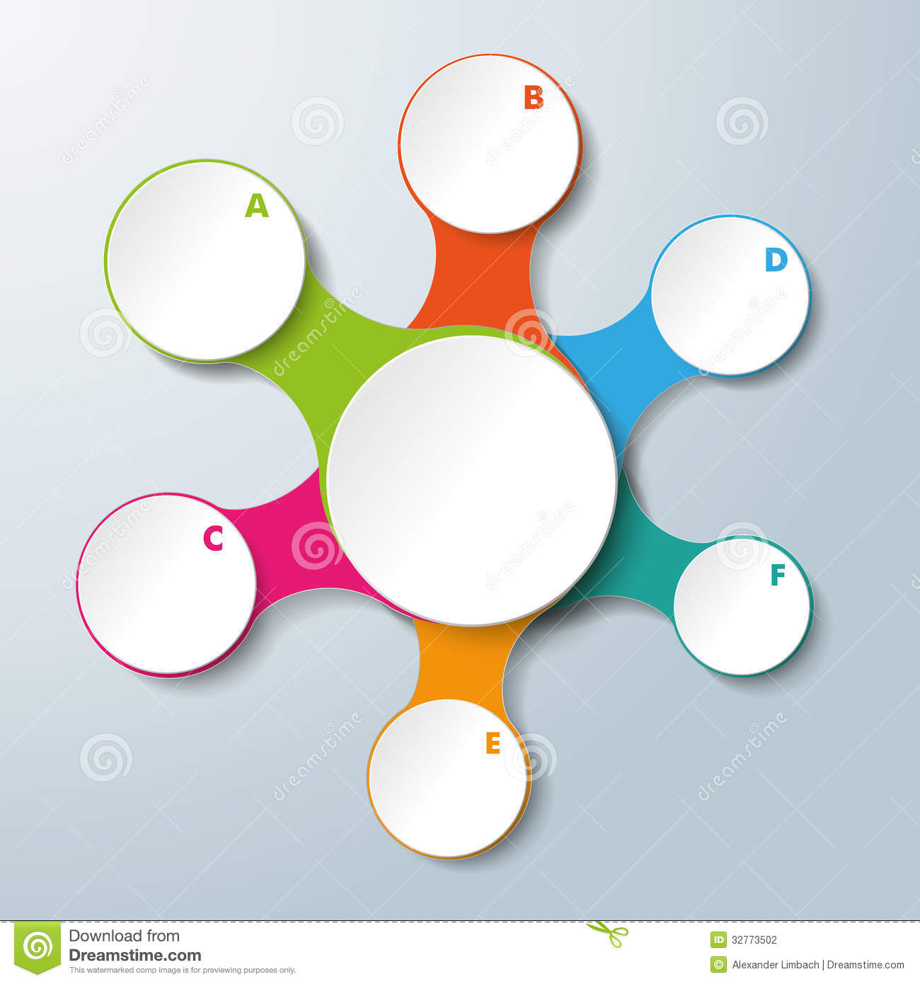 Infographic white connected circles 6 options stock