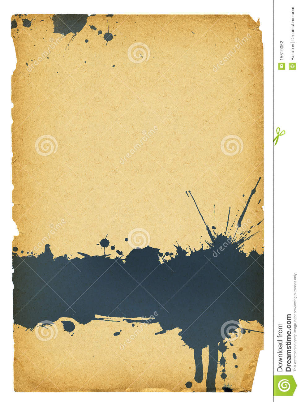 Illustration Decoration Ink Stain On Old Paper With Torn Edges. Stock Photography
