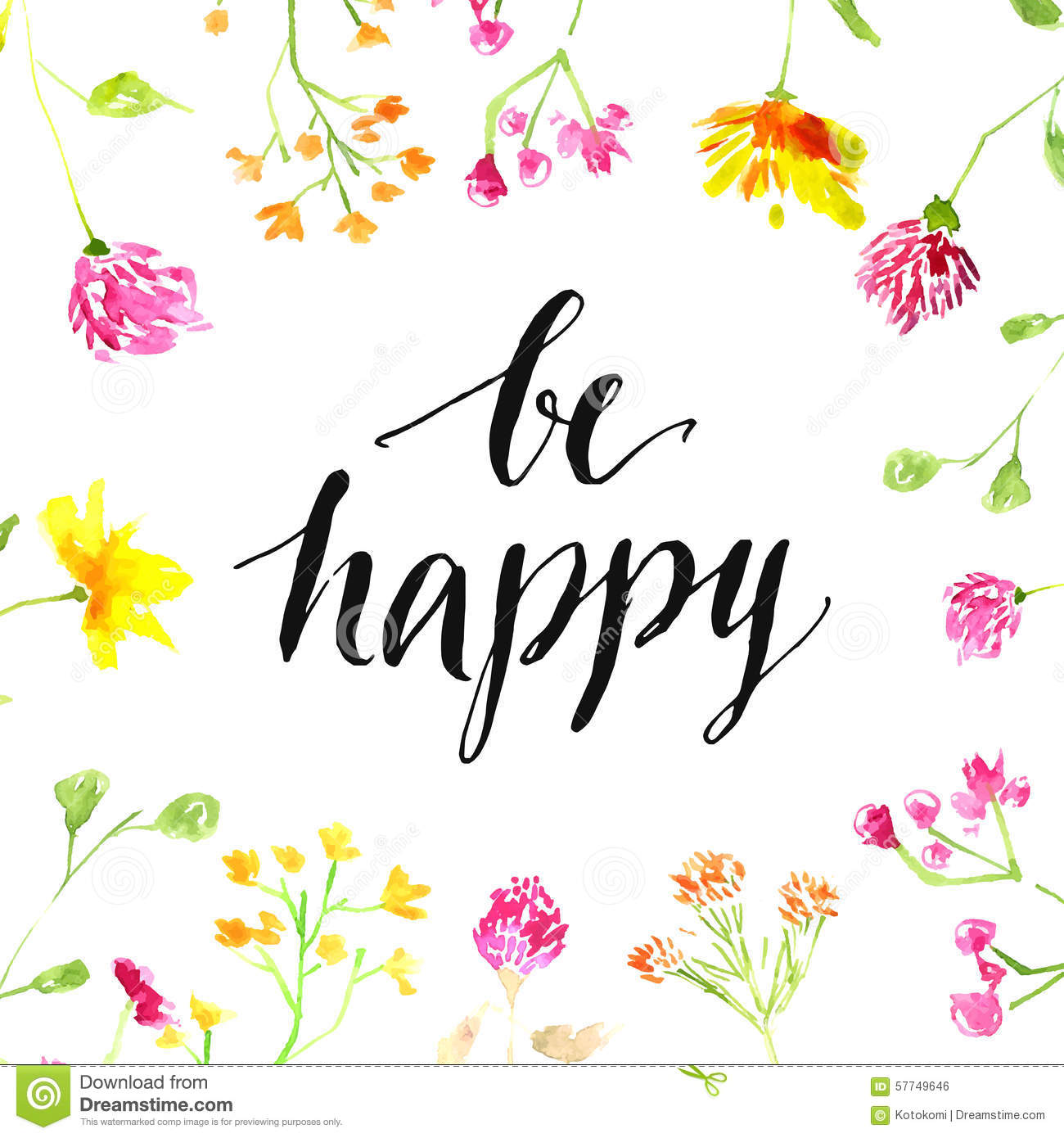 Cute Pintrest Quote Wallpapers Inspiration Quote Be Happy Handwritten In Stock Vector