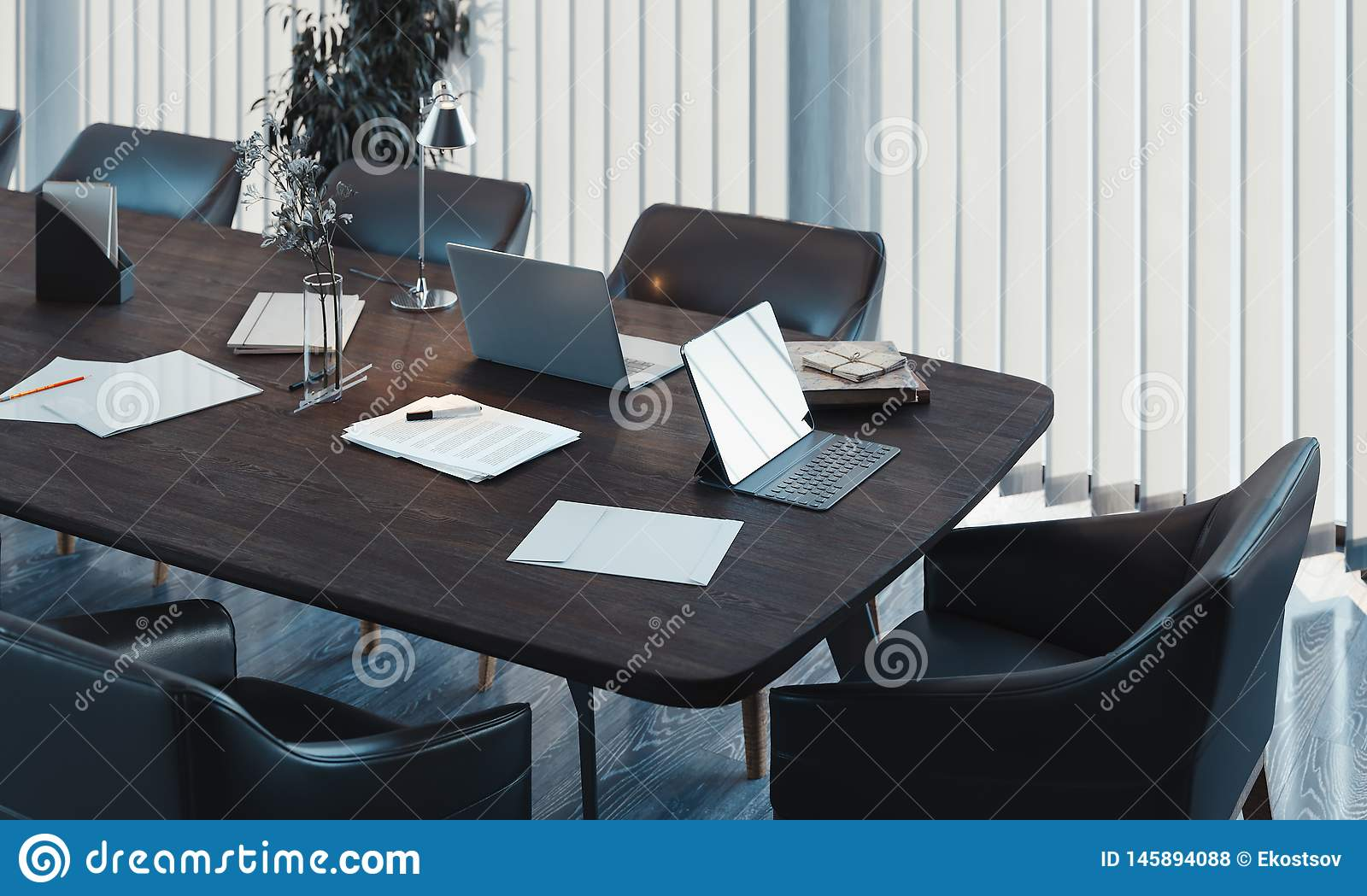 Stylish Conference Room Interior With Big Window And Wooden Table 3d Rendering Illustration Stock Illustration Du Table Wooden 145894088