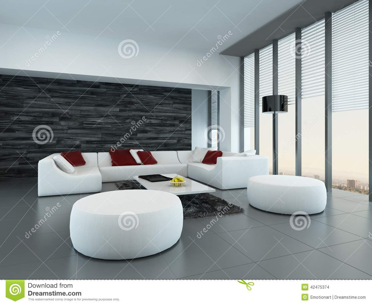 Salon Contemporain Gris Intérieur D Un Salon Gris Et Blanc Moderne Illustration Stock