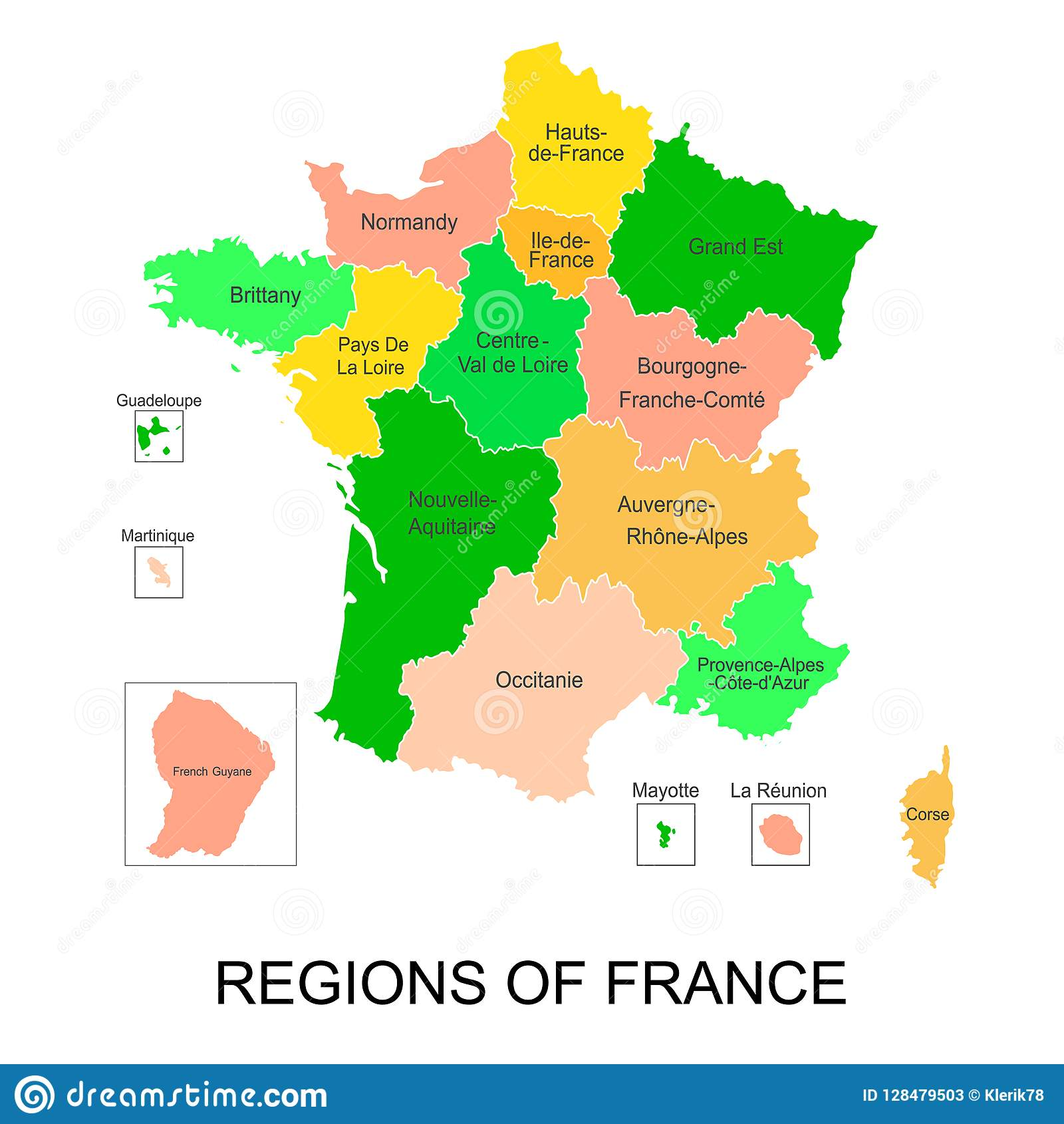 Regions De France Interactive Map Of Metropolitans French Regions With 5 Overseas
