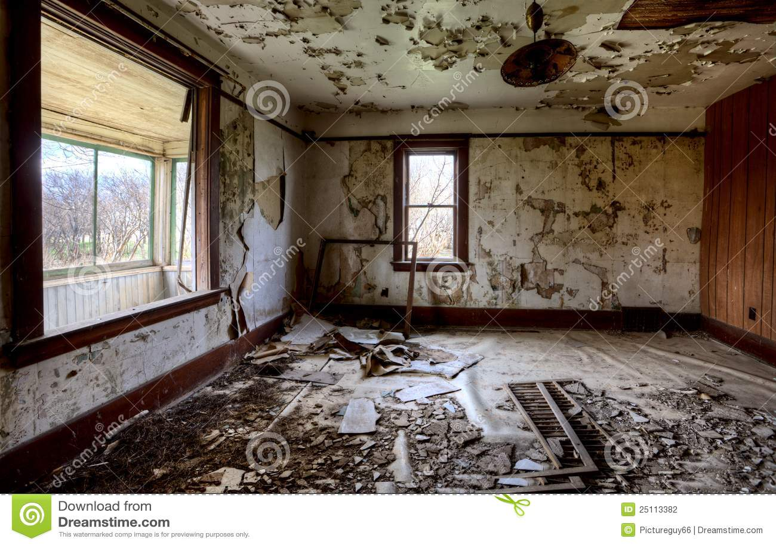 Falling Apart Wallpaper Interior Abandoned House Prairie Stock Photo Image Of