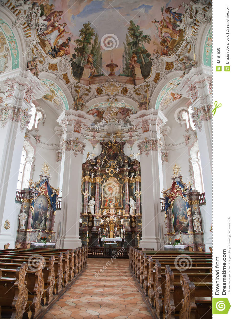 Decoration Facade Interior Baroque Church Stock Image. Image Of Watch
