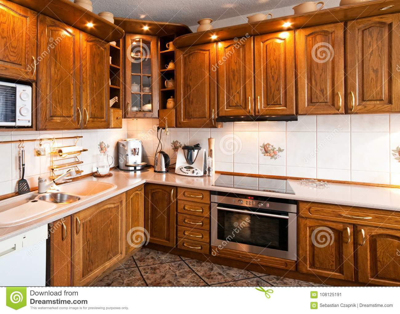 Only Muebles Interior Of A Classic Kitchen With Wooden Furniture Stock Image