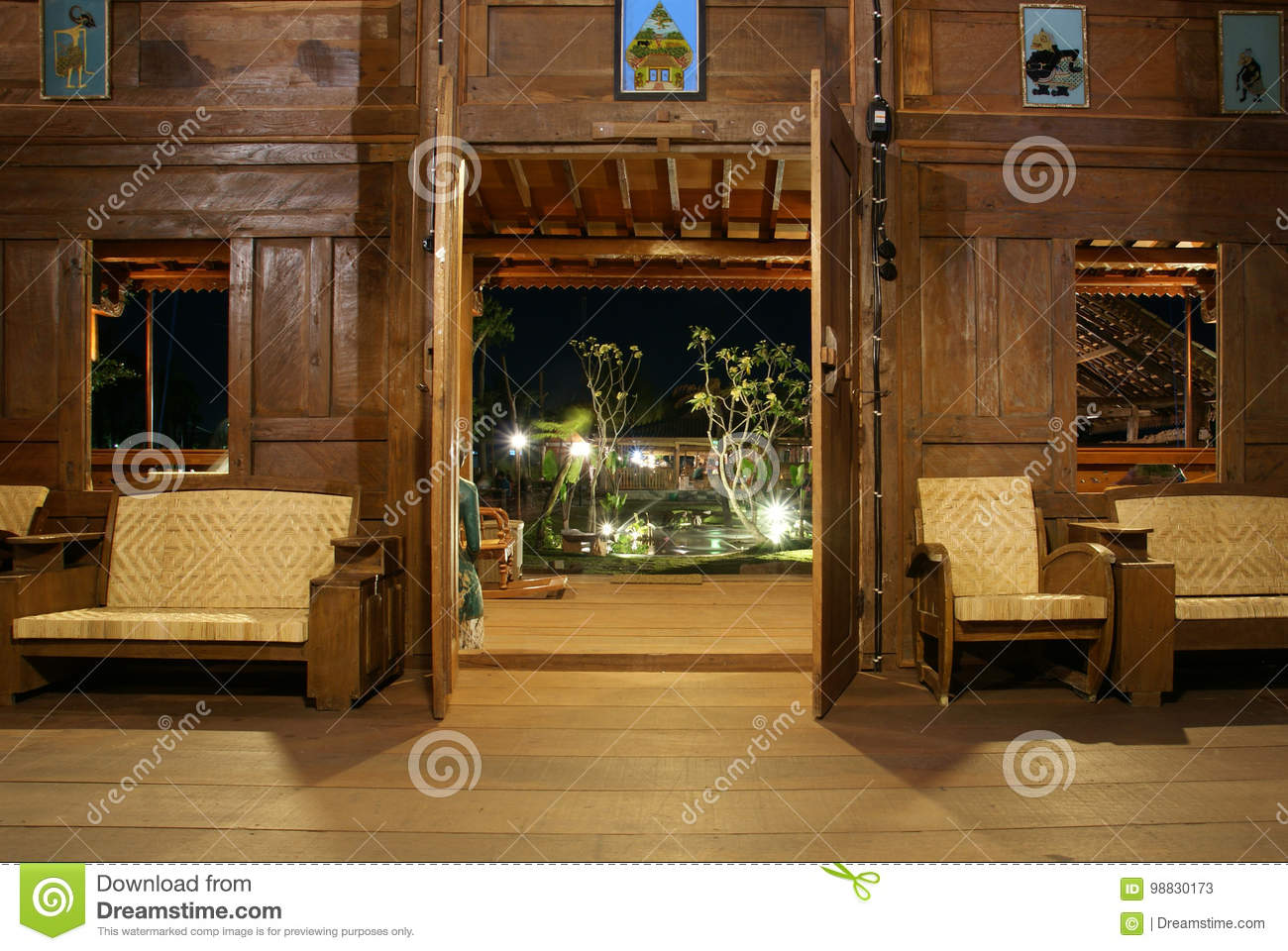 Interior Joglo Interior Of Classic Living Room Javanese House Stock Image Image