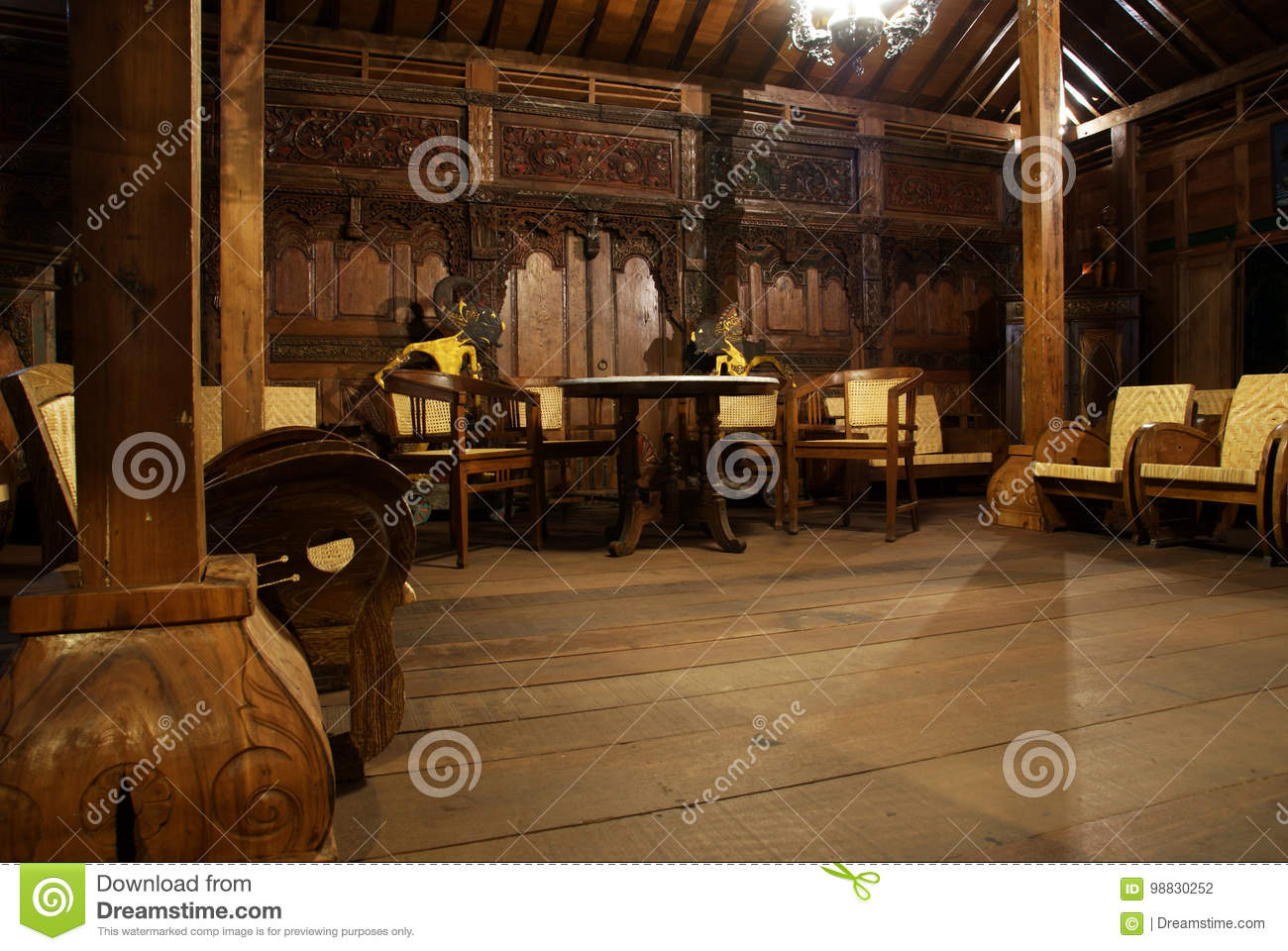 Interior Joglo Interior Of Classic Living Room Javanese House Stock Photo Image
