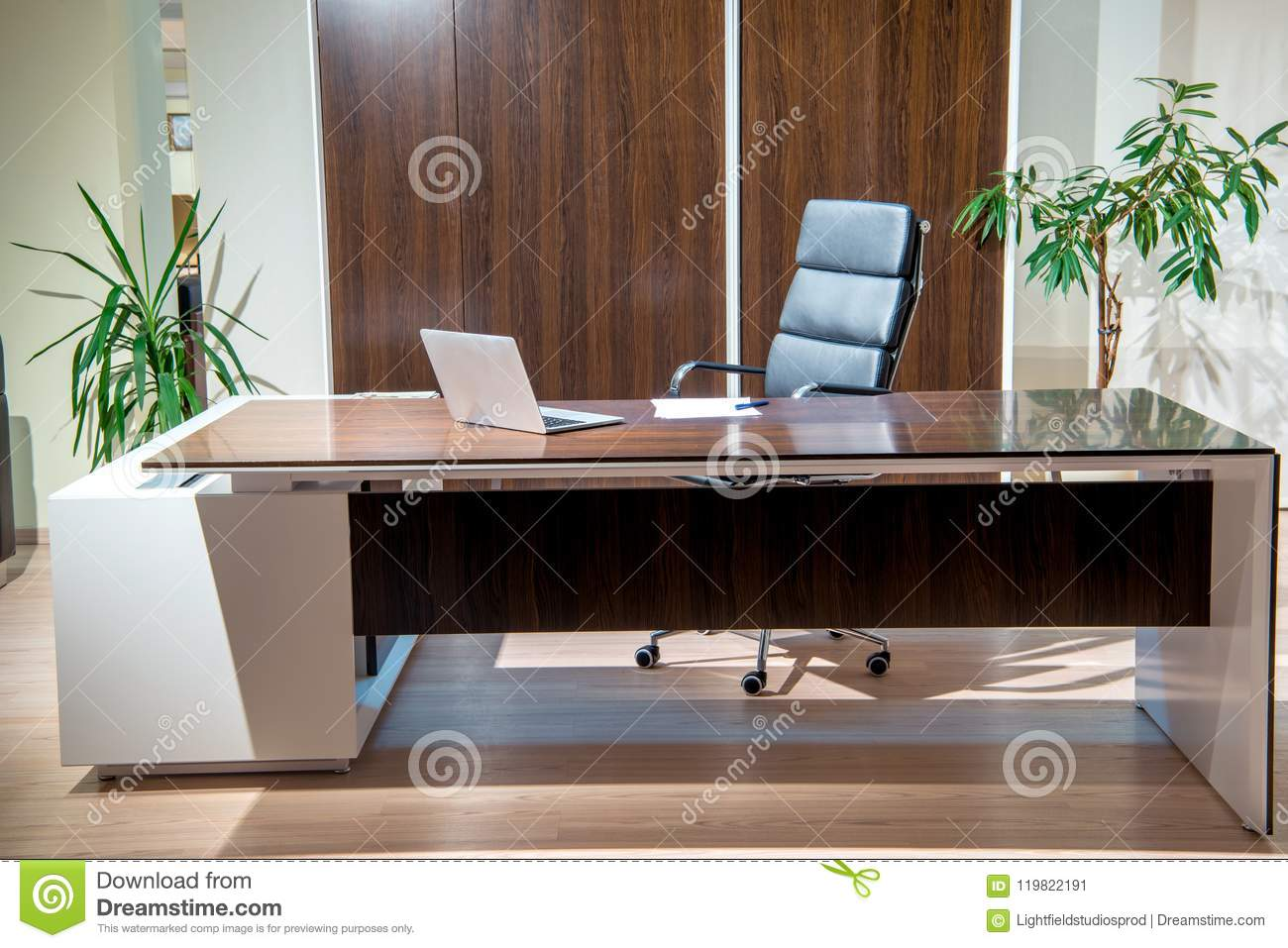 Classic Table Office Interior Of Cozy Office Room With Laptop On Table Armchair And