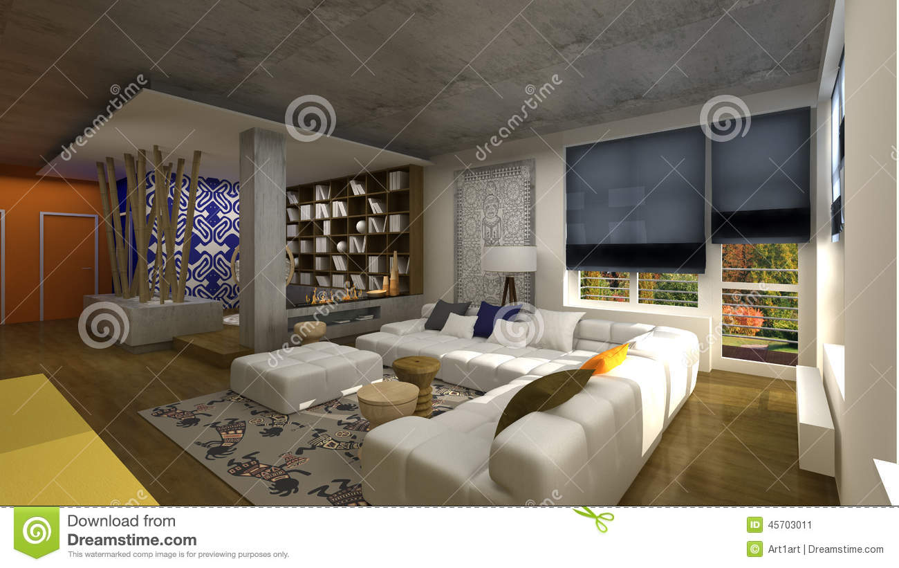 African Style Living Room Interior Design In African Style Stock Illustration Illustration
