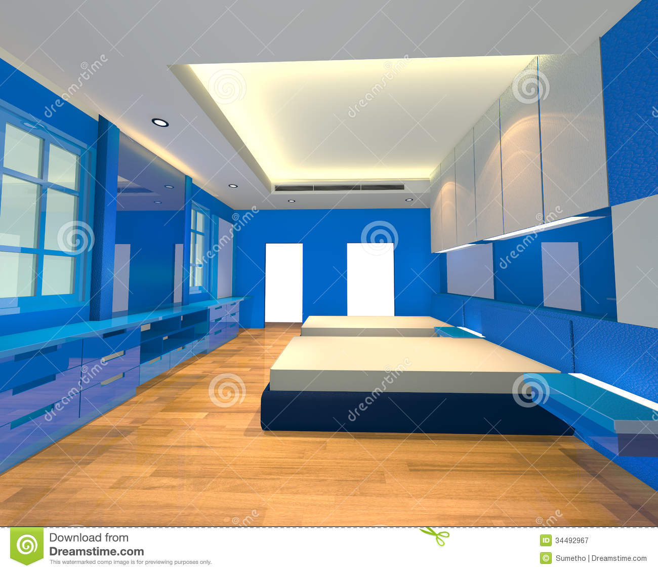 Blue Interior Design Interior Design Bedroom Blue Theme Royalty Free Stock