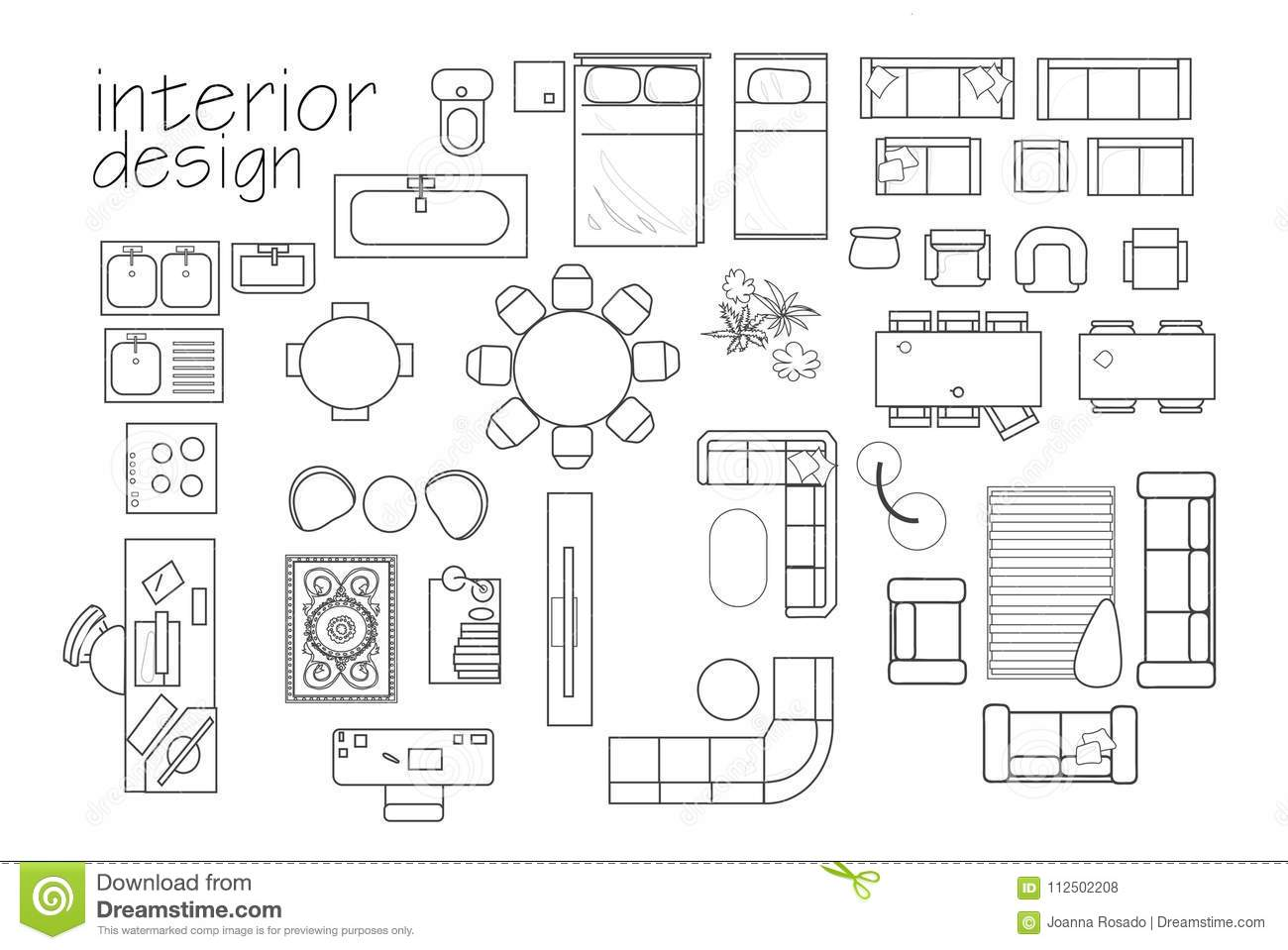 Autocad Keuken Blocks `interior Design Floor Plan Symbols. Top View Furniture