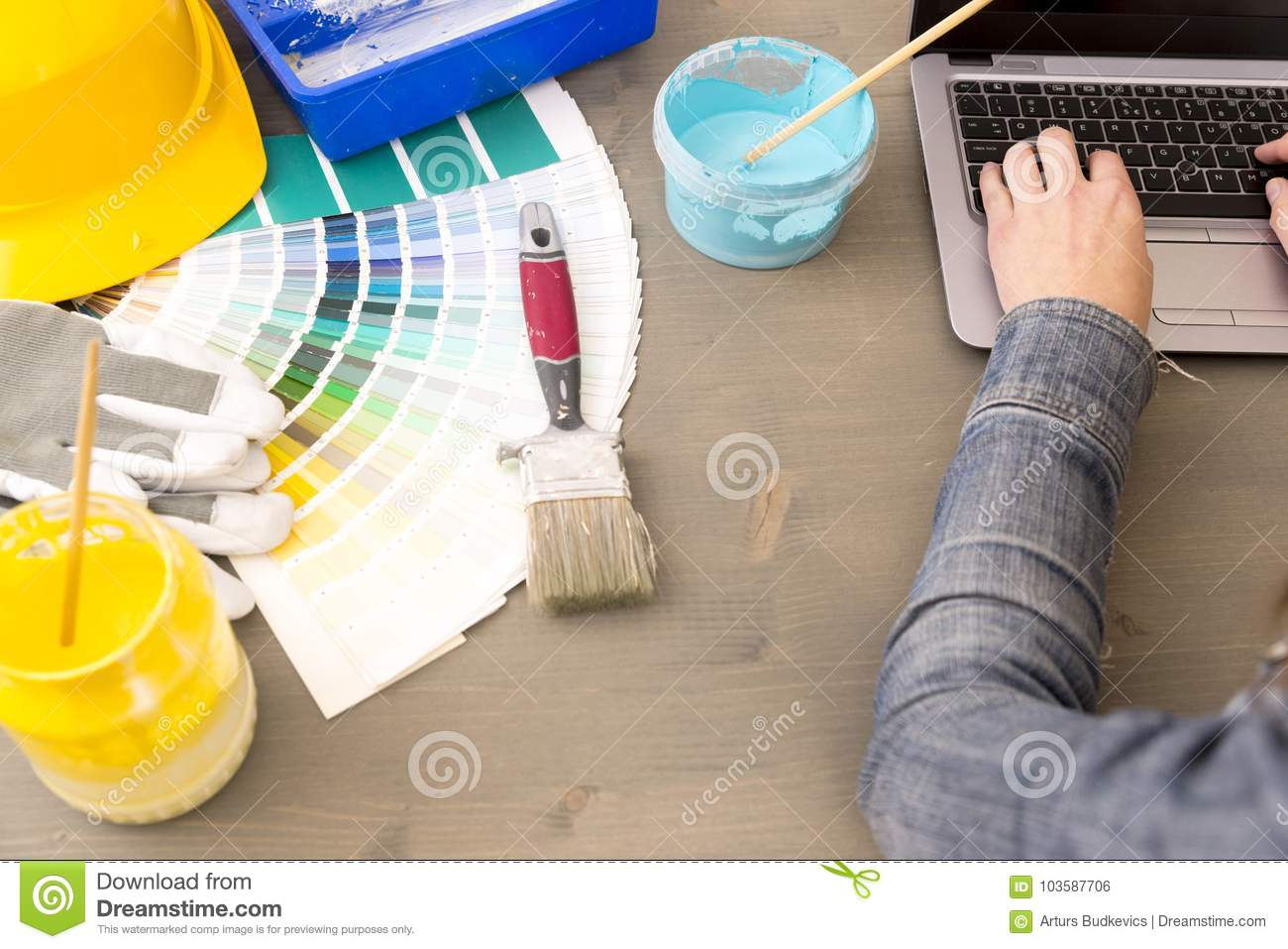 Renovation Decoration Interior Design Renovation And Decoration Concept Woman Working