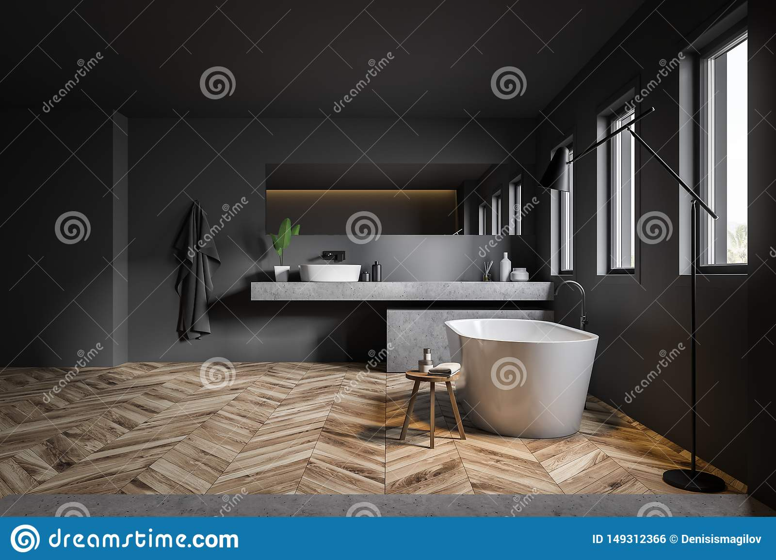 Interior Of Gray Bathroom With Sink And Tub Stock Illustration Illustration Of Home Bathtub 149312366