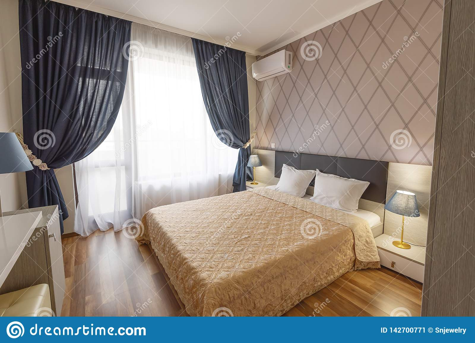 Curtains For Long Windows Interior Of Modern Bedroom With Cozy Double Bed Windows With Long
