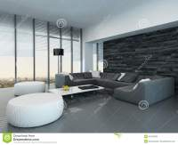 Interior Of A Modern Grey And White Living Room Stock ...