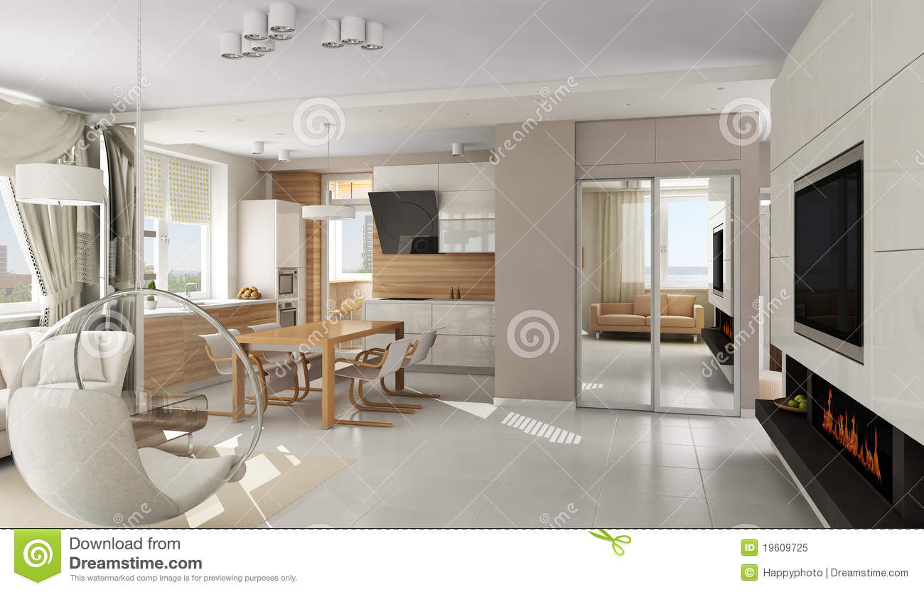 ... Apartment Fireplace Interior Kitchen Living Luxury. Download
