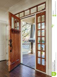 Interior Shot Of An Open Wooden Front Door Stock Photo ...