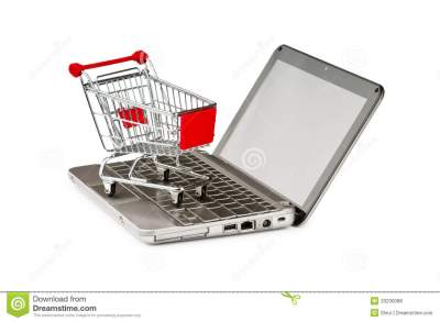 Internet Online Shopping Concept With Computer Stock Photo - Image of carrying, office: 20230088