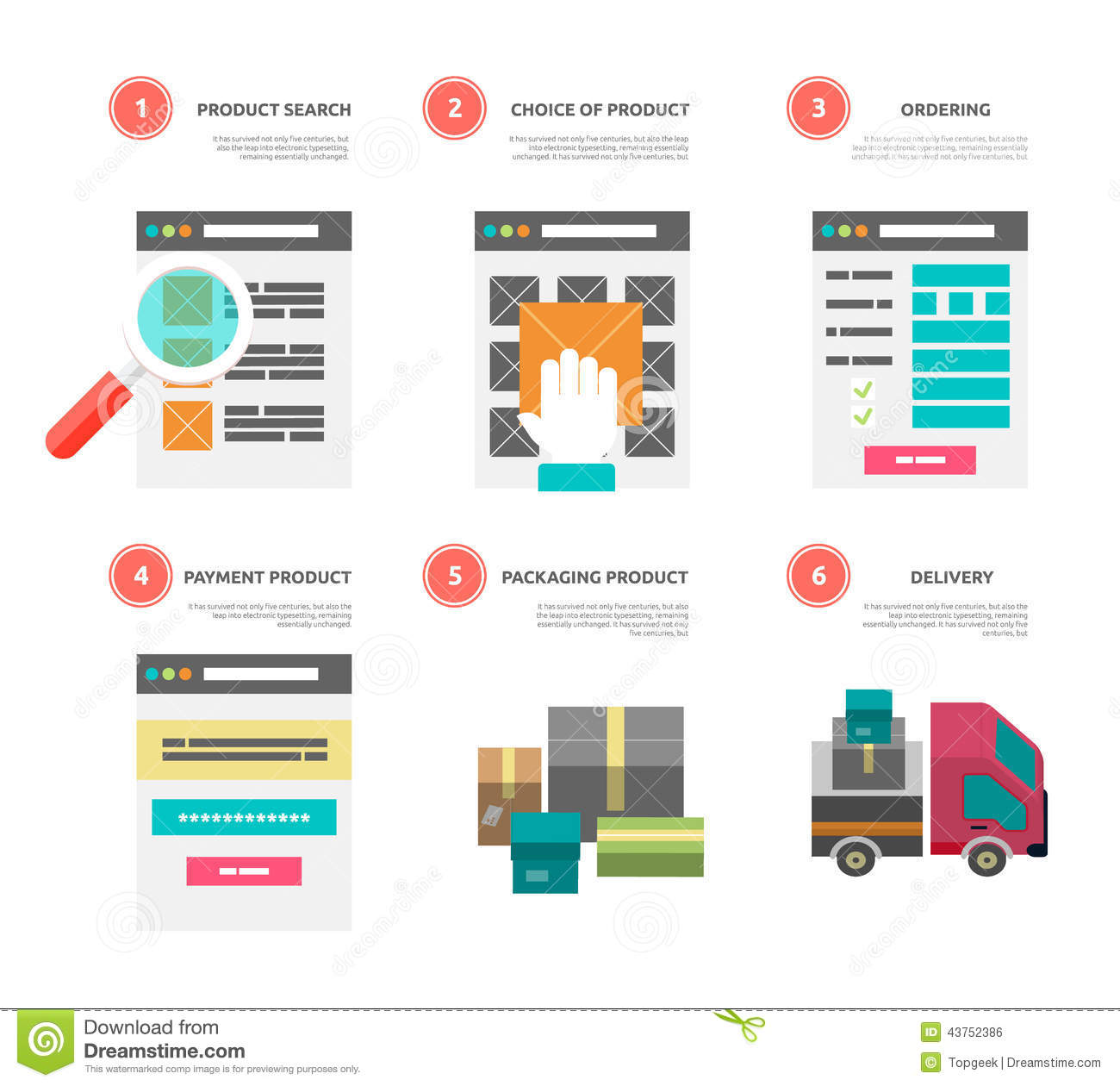 In Shop Online Store Internet Shopping Process Of Purchasing And Stock Vector