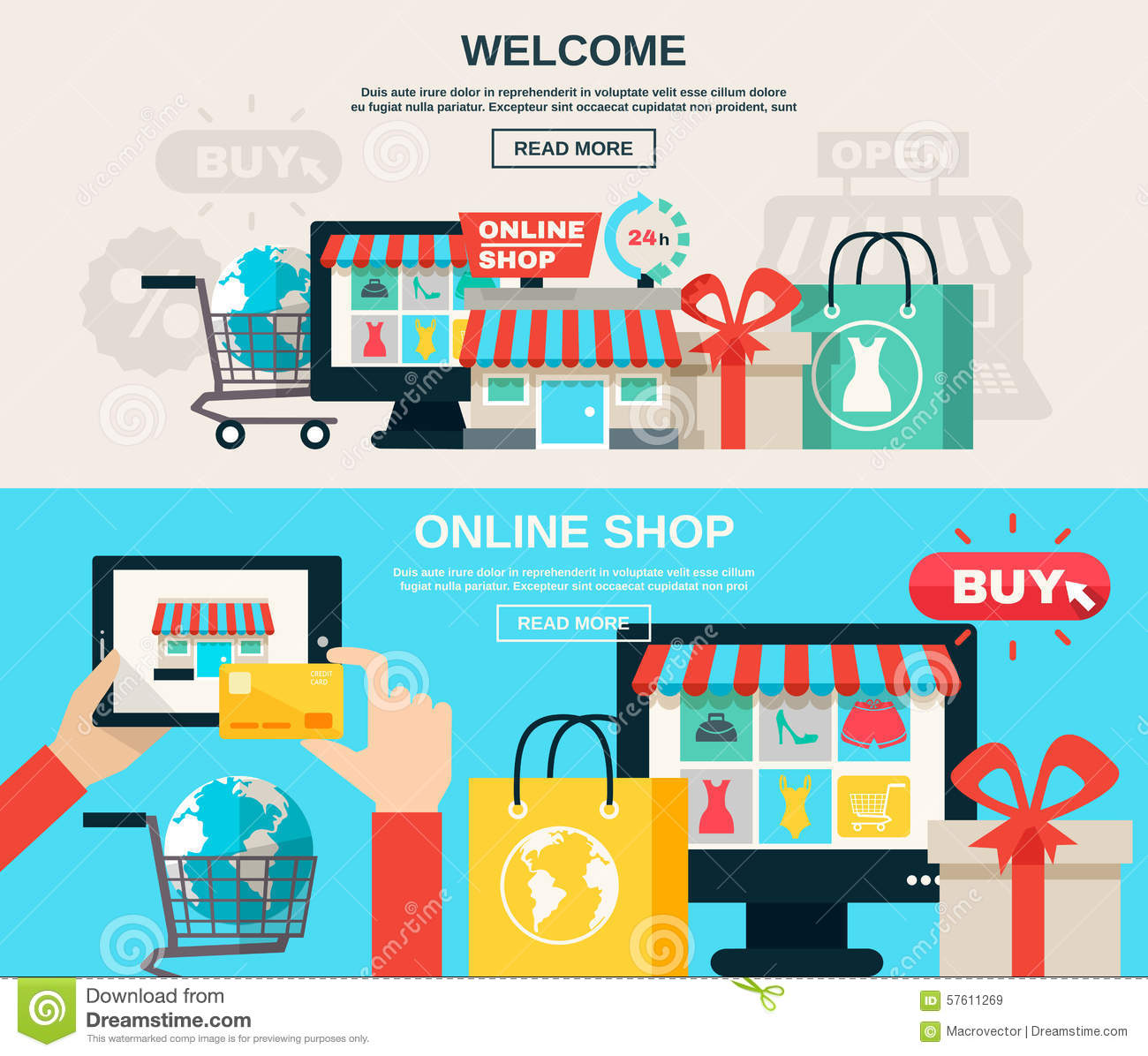 Store Banne 6 X 3.5 M Internet Store Flat Banner Set Stock Vector Image 57611269