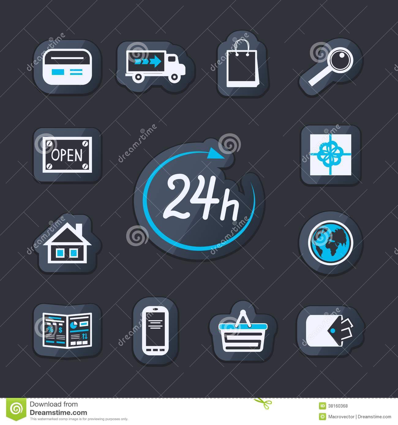 24 Internet Internet Website Store Open 24 Hours Stock Vector Illustration