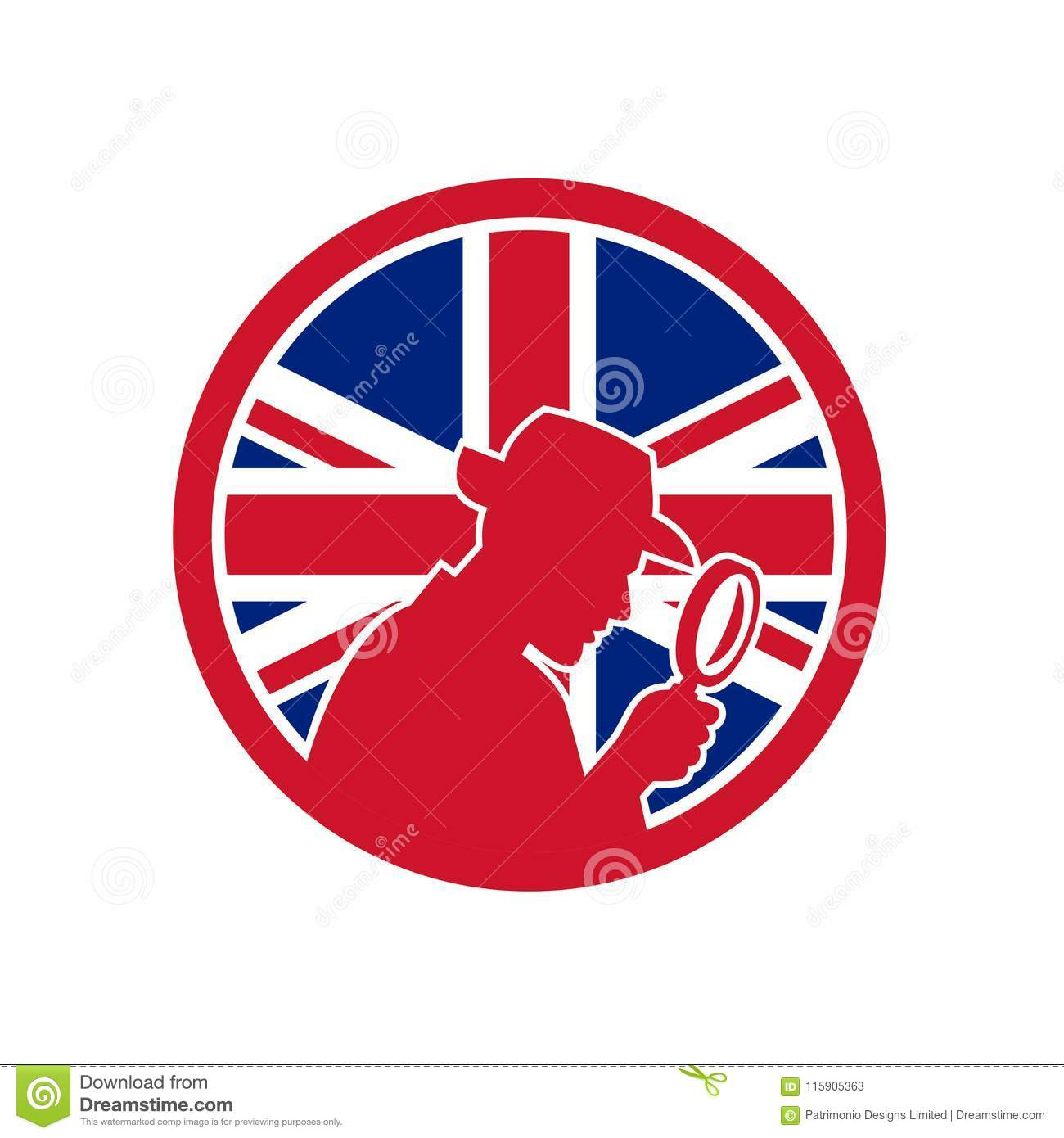 Interieur Icon Investigateur Privé Britannique Union Jack Flag Icon Illustration