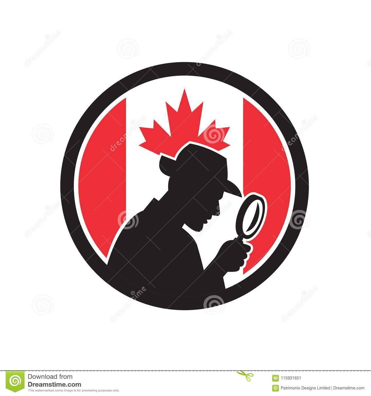 Interieur Icon Investigateur Privé Canadien Canada Flag Icon Illustration De