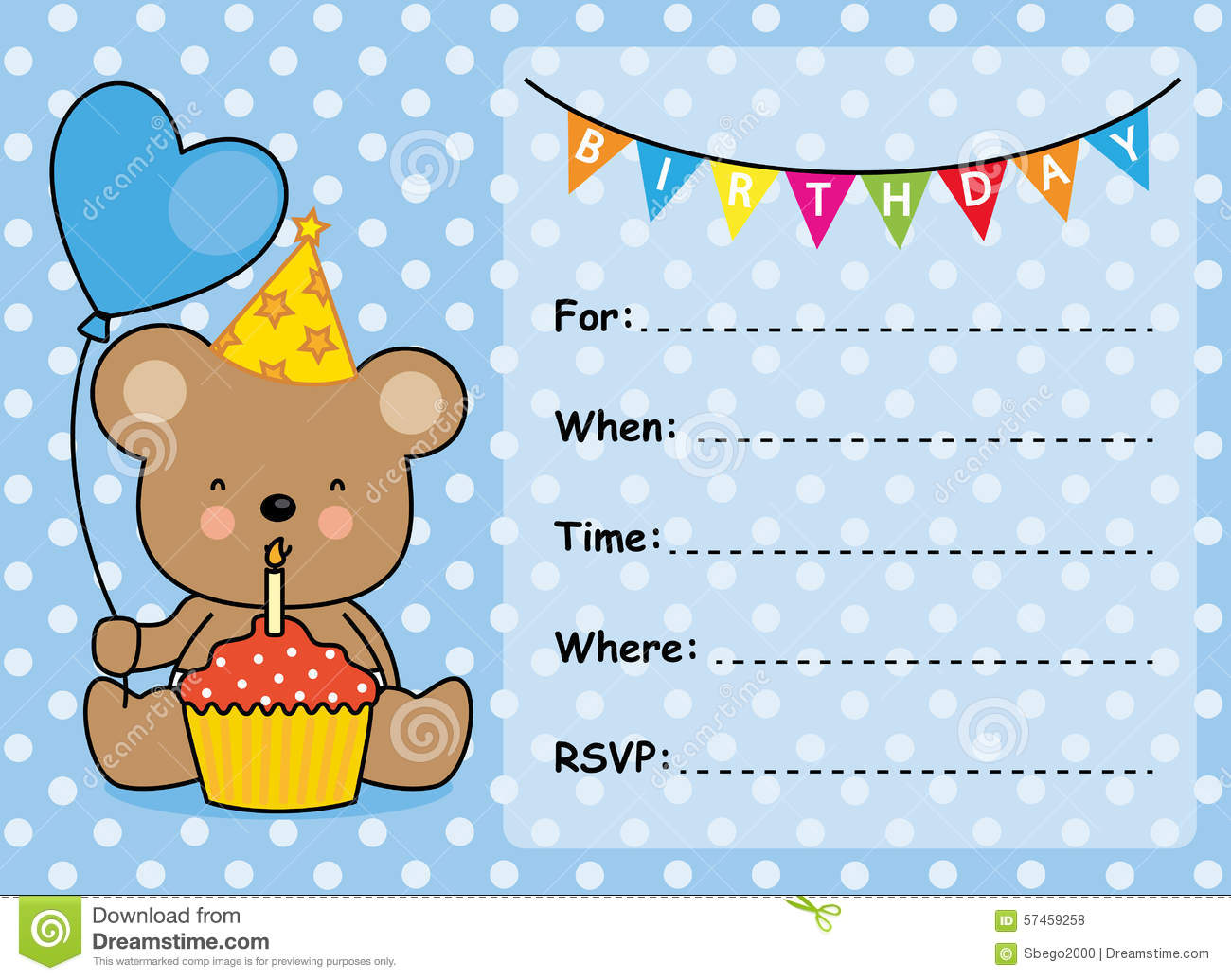 Invitation Card Birthday Boy Stock Vector Illustration
