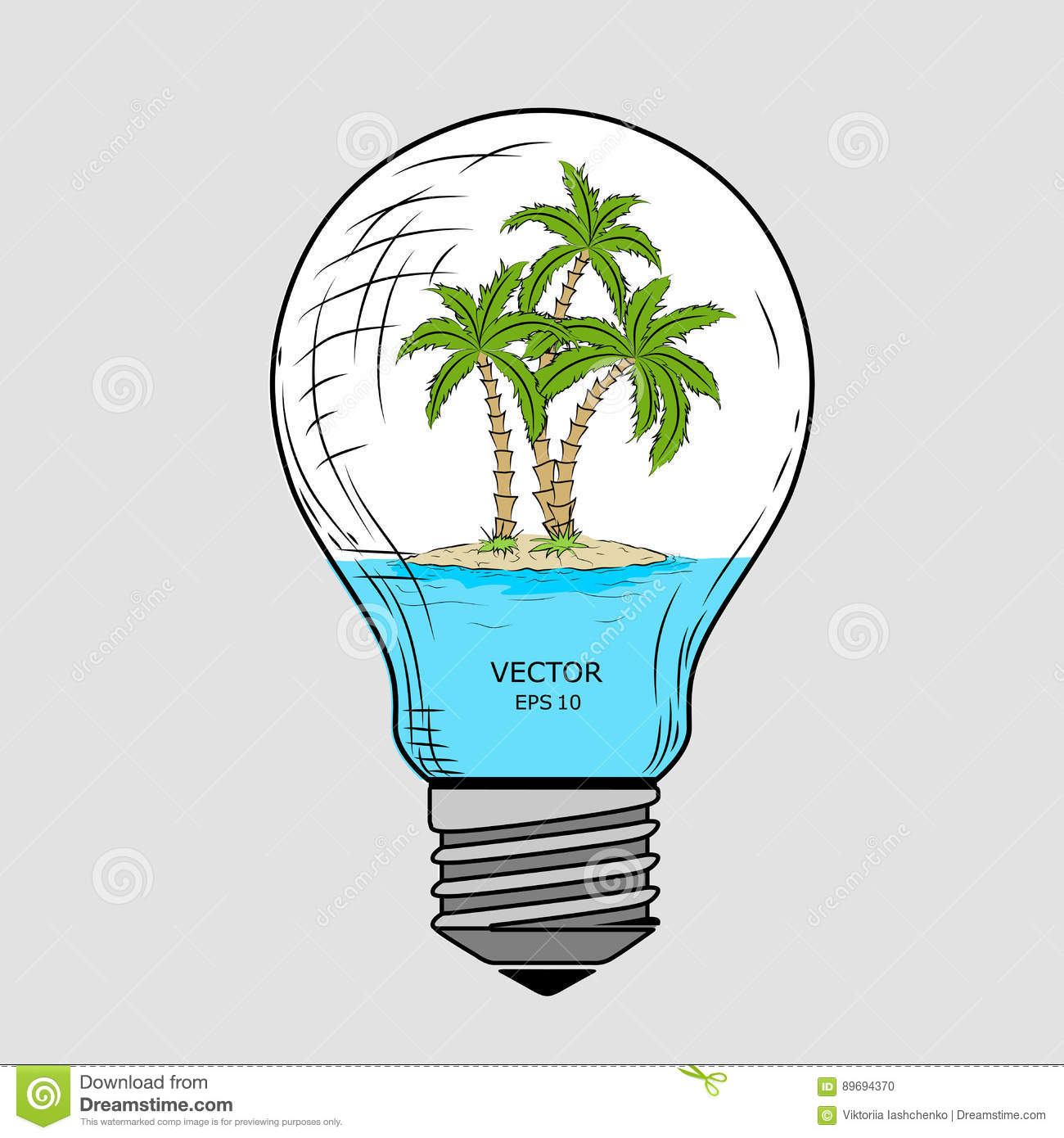 Glass Lamp Vector Island With Palm Trees Inside A Glass Lamp Vector Light