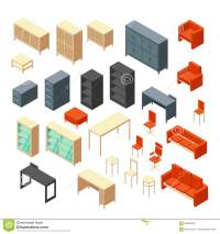 Isometric 3d Office Furniture Isolated. Interior Elements ...