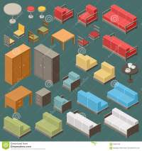 Isometric Furniture Set Stock Vector - Image: 66397093